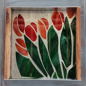 Stained Glass Tray - Red
