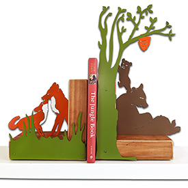 Woodlands Bookends on Shelf